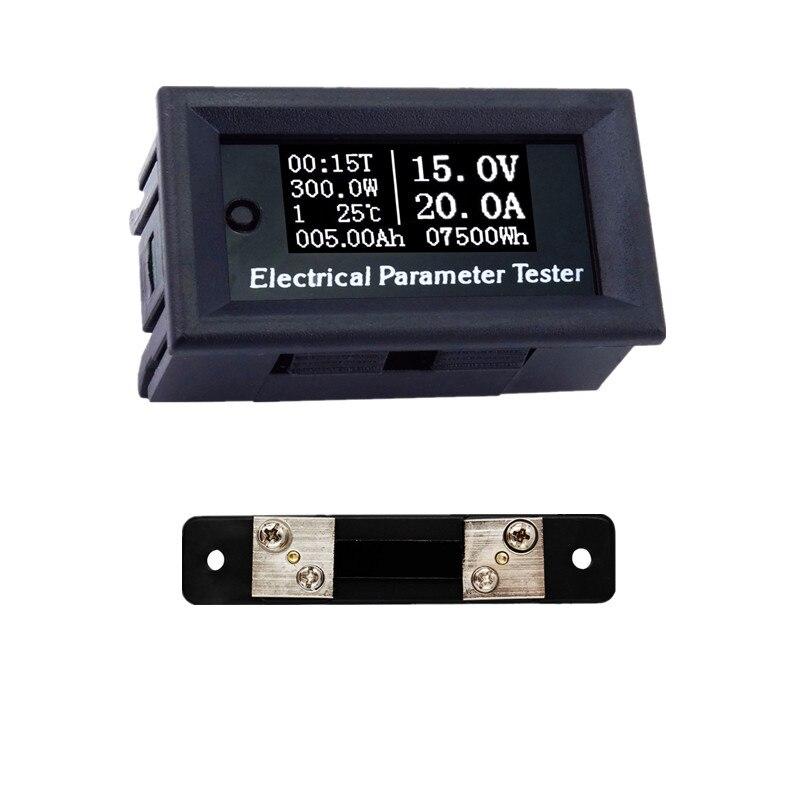 DC 100 V 50A LED temperatura Tempo capacidade de energia Digital atual Voltímetro Amperímetro Amp Volt Medidor + 50A Shunt