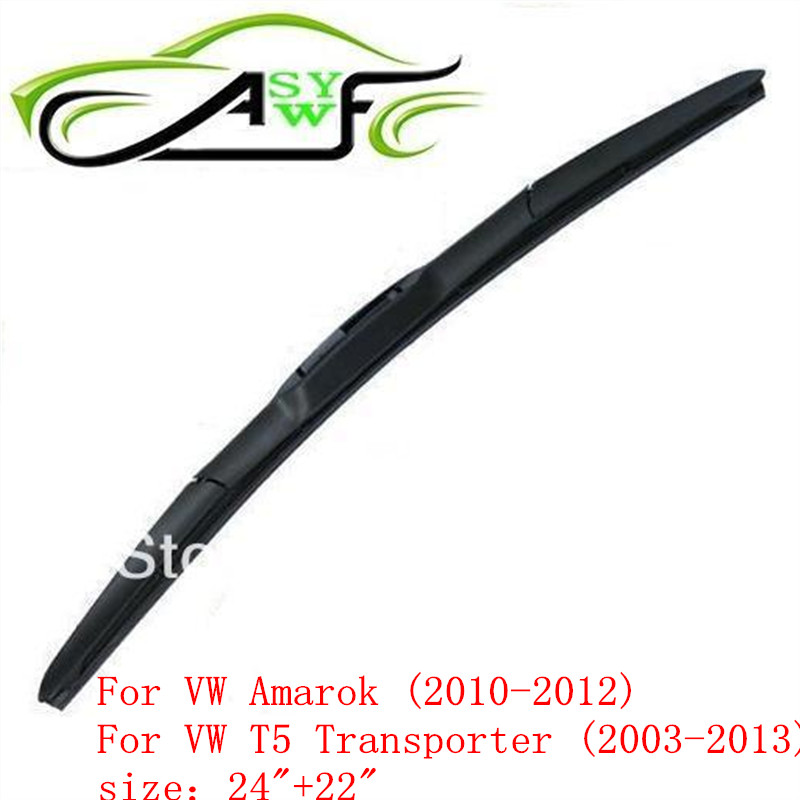 Free shipping car wiper blade for VW Amarok (2010-2012) and VW T5 Transporter (2003-2013) size 24 22 fit hook wiper arm