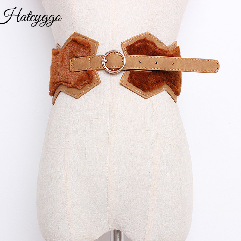 HATCYGGO New Winter Waistband Fox Fur Women's Waistbands Fashion Cummerbund Female Slim Corset Body Shaper Waist Belt Cummerbund