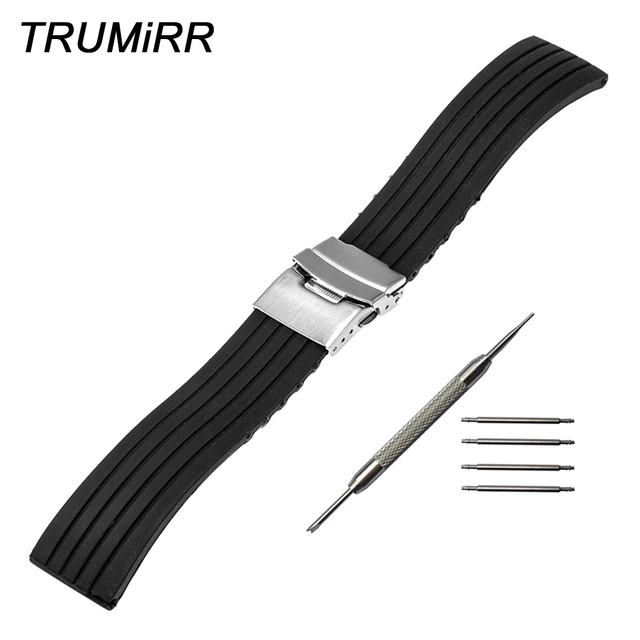 5bdeb265aac Silicone Rubber Watch Band for Hamilton Men Women Stainless Steel Safety Buckle  Strap Wrist Bracelet Black