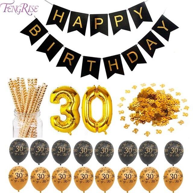 Fengrise 30th Urodziny Balony Z Okazji Urodzin 30 Złota Banner