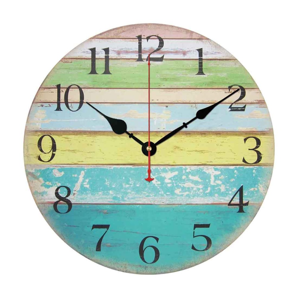 High Quality Vintage Rustic Country Tuscan Style Silent Wooden Wall Clock Home Decor Ocean Stripe