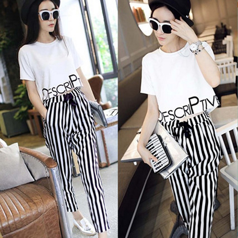 Women Two Piece Set OL Fresh Office Wear Letter Printed T Shirt +Striped Pants Calf Length Casual Tracksuit Women