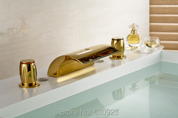 Newly US Free Shipping Waterfall Bathroom Golden Polished Modern Bathtub Faucet Mixer Tap Dual Handles Deck Mounted free shipping polished chrome finish new wall mounted waterfall bathroom bathtub handheld shower tap mixer faucet yt 5330