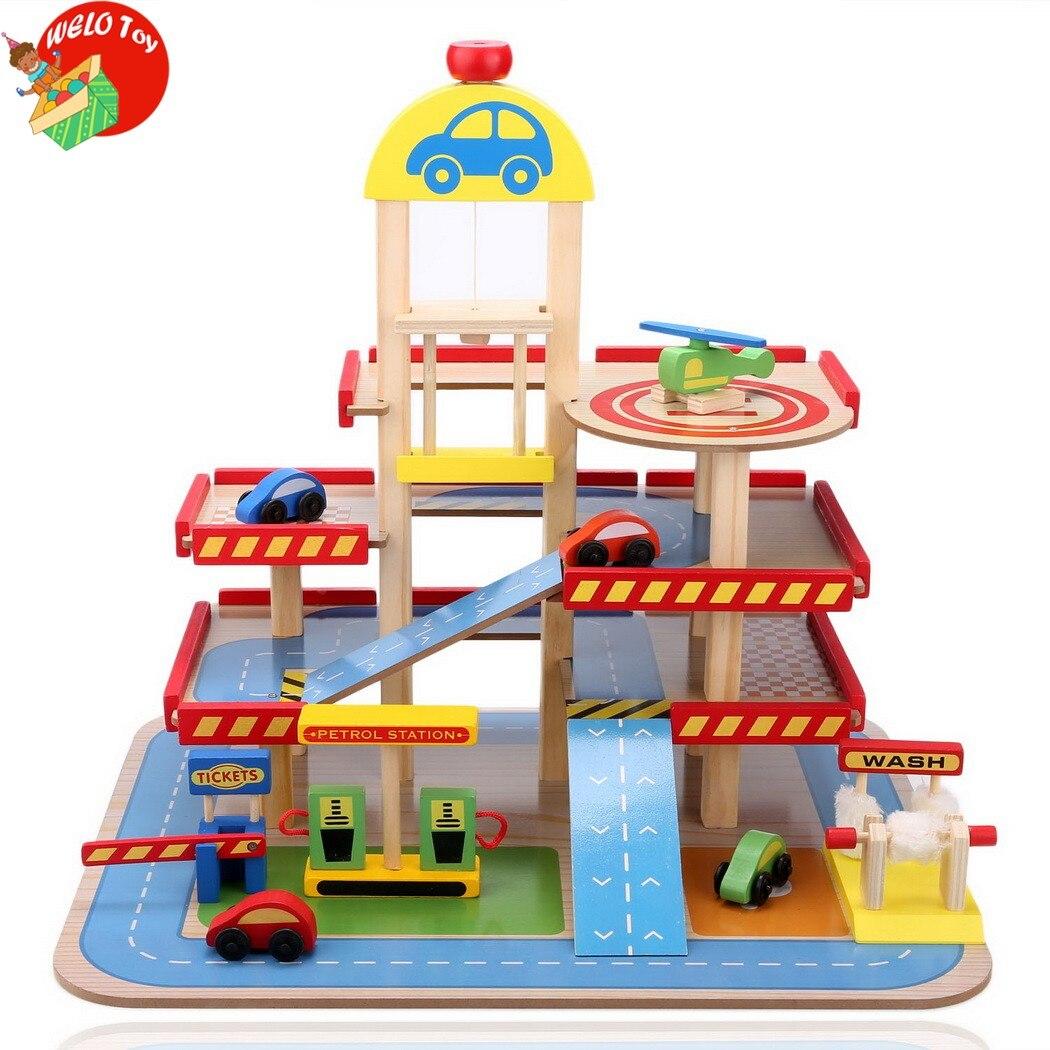 Toy Garages For Boys : Children boy girl three level wooden parking garage toy