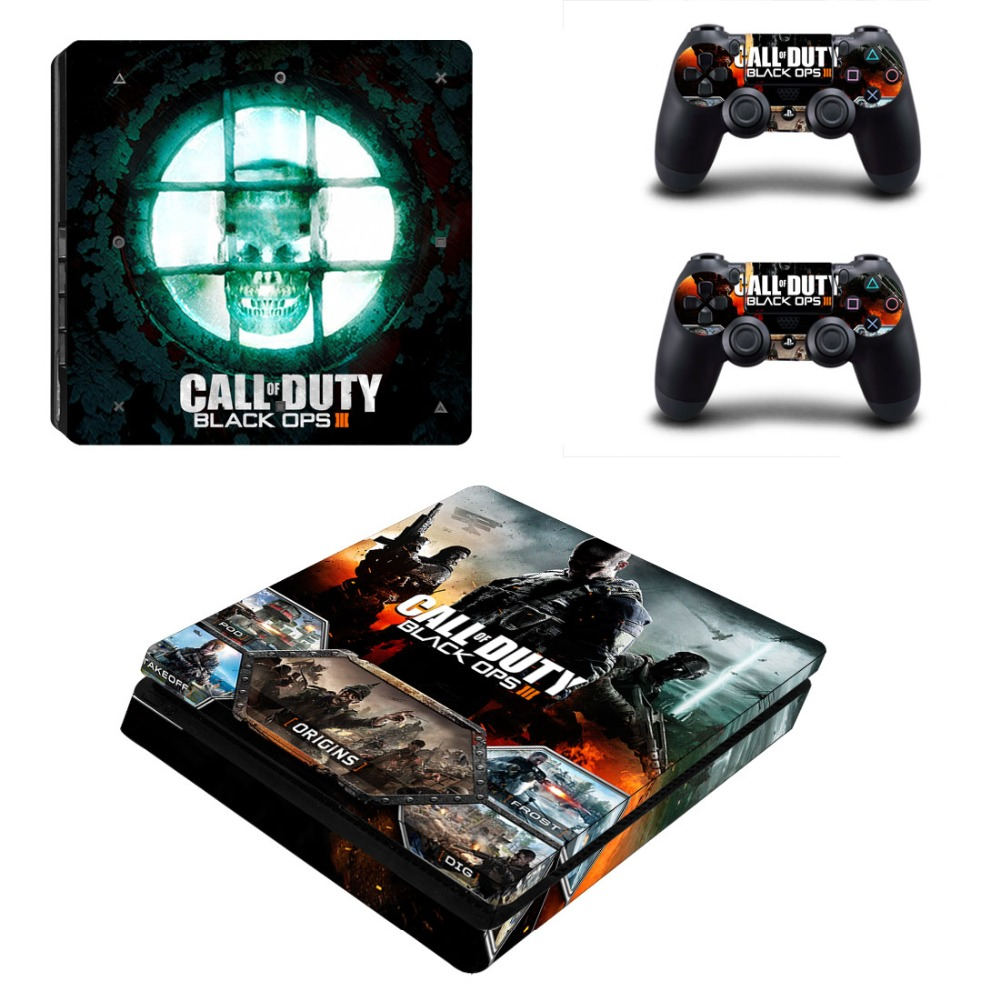 CALL OF DUTY BLACK OPS III PS4 Slim Skin Sticker Decals Designed for PlayStation4 Slim Console and 2 controller skins