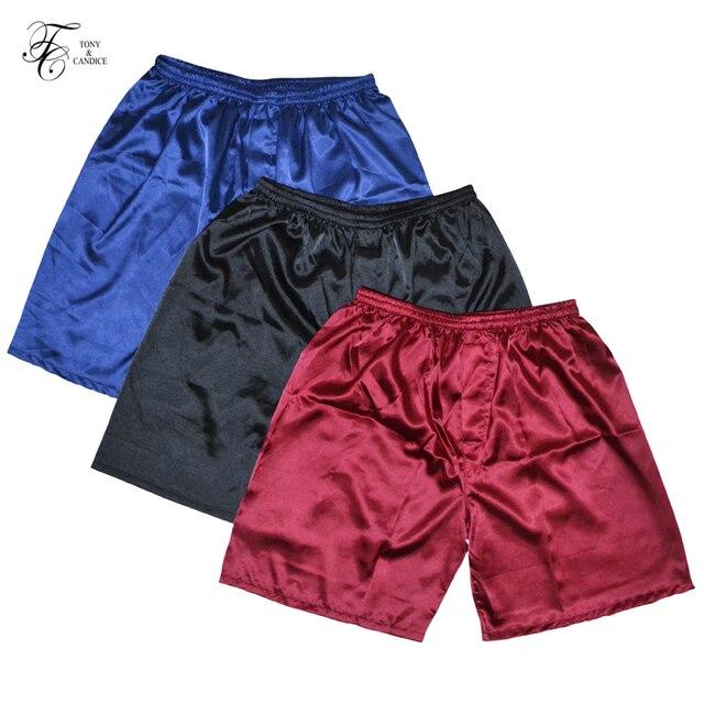 Tony & Candice, 3 unids/lote, Boxers de seda satinada para hombre, pantalones cortos, pantalones cortos, paquete combinado, ropa interior, pijamas para hombres, pantalones de dormir