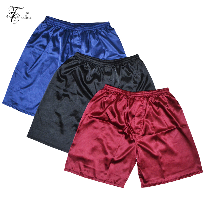 Tony&Candice 3PCS/Lot Men's Satin Silk Boxers Pajama Short Trousers Shorts Combo Pack Underwear Pajamas For Men Sleep Bottoms