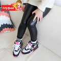 Menina Legging 2017 Moda Faux PU LEATHER Skinny Leggings de Comprimento Total Calças Menina Leggings Crianças Calças 66 SV016546 30