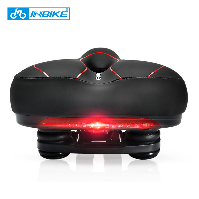 INBIKE Bicycle Saddle with Tail Light Widen MTB Road Bike Cushion Cycling Accessories Comfortable Seat Spare Parts for Bicycles