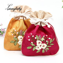 12x16cm Flower Embroidery Gifts Bags Handmade Chinese Silk Jewelry Pouches Wedding Christmas Packaging Drawstring Organizer Bag