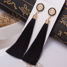 L&H Bohemia Handmade Long Statement Tassel Earrings Vintage Black Red Silk Crystal Drop Dangle Earring For Women Wedding Jewelry
