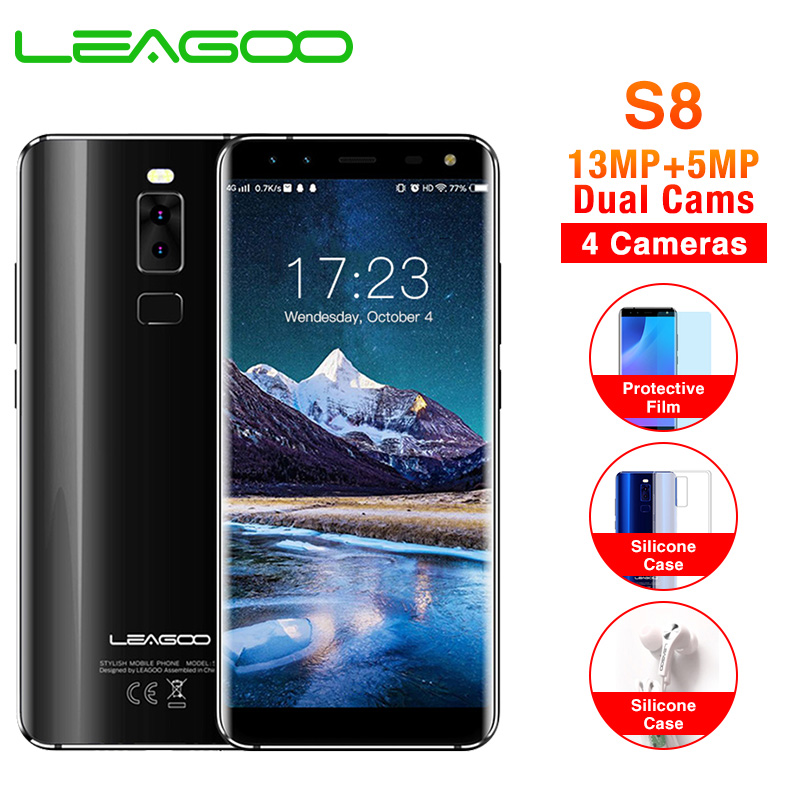 LEAGOO S8 5.72 full screen Mobile Phone <font><b>Android</b></font> <font><b>7.0</b></font> MTK6750T Octa Core 3GB+32GB 13MP 4 Cameras Fingerprint ID 4G <font><b>Smartphone</b></font> image
