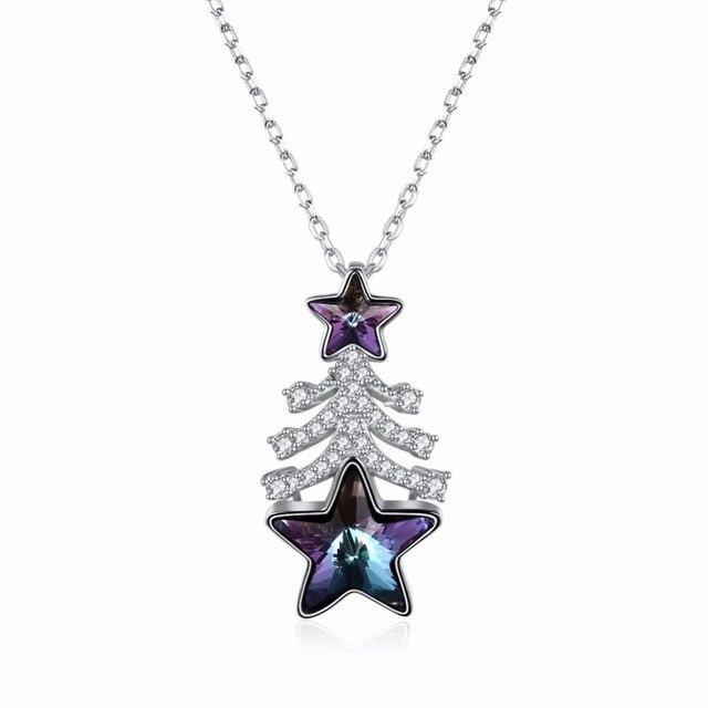 19b4833765cb 925 de plata esterlina árbol de Navidad pentagrama de cristal para las  mujeres de color púrpura