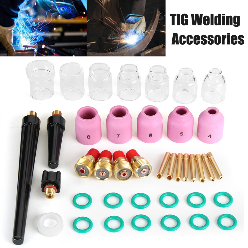Newest 40pcs TIG Welding Accessory Torch Stubby Cup Ring Slot Cap Glass for WP-9/20/25 Power Tools Accessories Tool Kit wp 17f sr 17f tig welding torch complete 17feet 5meter soldering iron flexible
