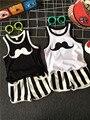 Мальчики Лето Хлопок Одежда наборы борода Отпечатано Симпатичные рукавов футболки + полосатые шорты брюки дети пижамы одежда набор ребенка