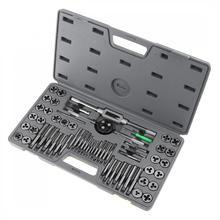 合金鋼メトリックと英国ねじタップ & スレッドダイ切断タッピングハンドツールキットとプラスチックボックスマシン手の使用