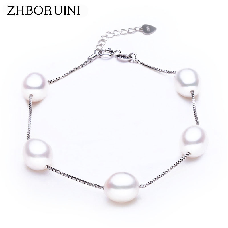 ZHBORUINI Charm Bracelet Pearl Jewelry Natural Freshwater Pearl High Quality 925 Sterling Silver Pearl Bracelets For Women Gift