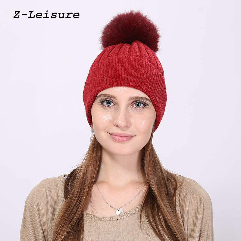 2017 Wool Hat Knitted Beanies Cap Thick Female CapReal Fox Fur Pom Poms Ball Fashion Solid Warm Winter Hat For Women KC123 lepin 22001 pirates of the caribbean ship imperial warships model building kits block briks toys gift 1717pcs compatible 10210