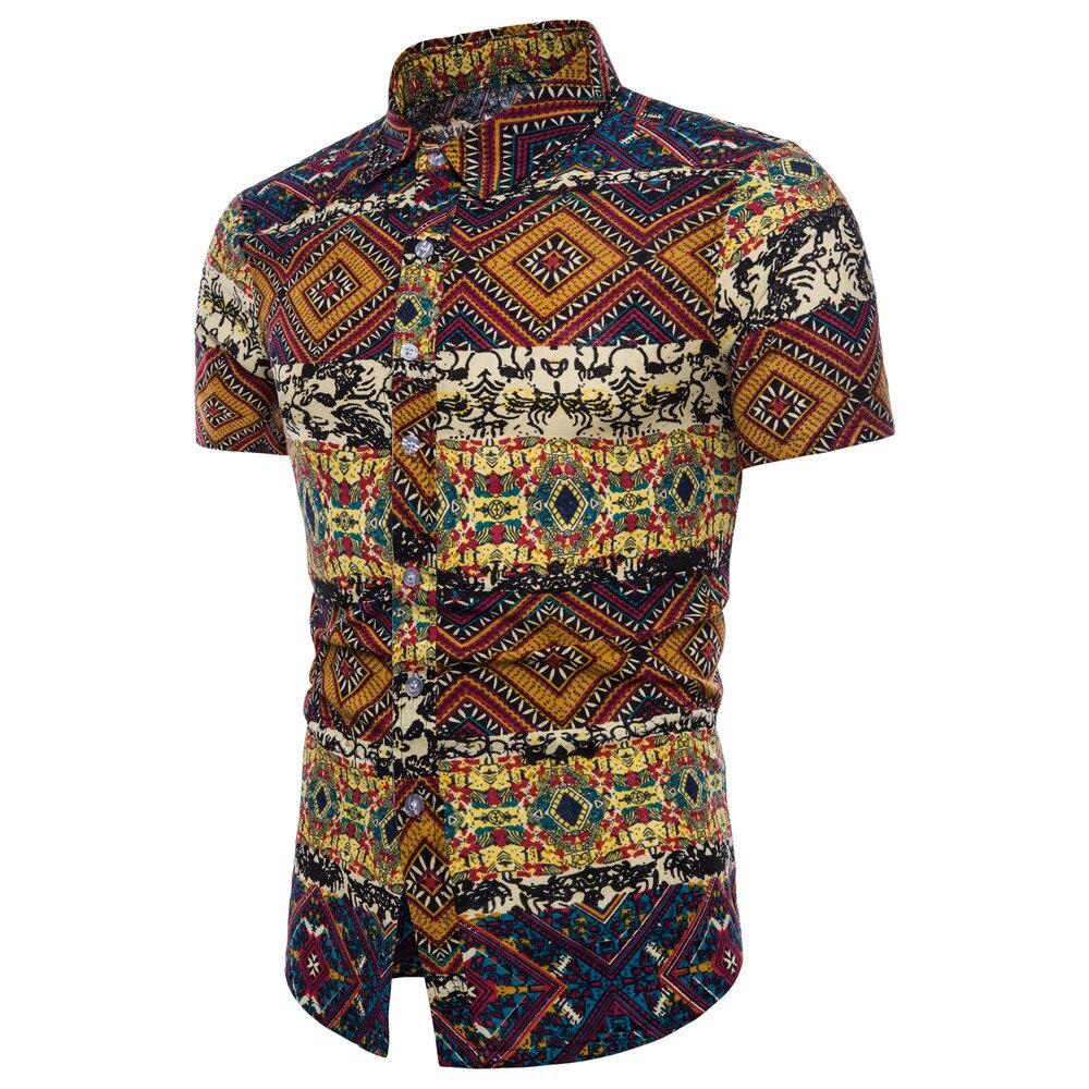 #4 Прямая поставка 2018, новая мода для мужчин лето Bohe цветочный короткий рукав лен Базовая Блузка Топ плюс размеры ежедневно б