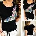 2017 Venta Caliente Negro Del O-cuello de Impresión Floral Mujeres Camiseta Del Verano Personalidad de La Moda Creativa 100% de Algodón de Las Mujeres Tes de Las Tapas