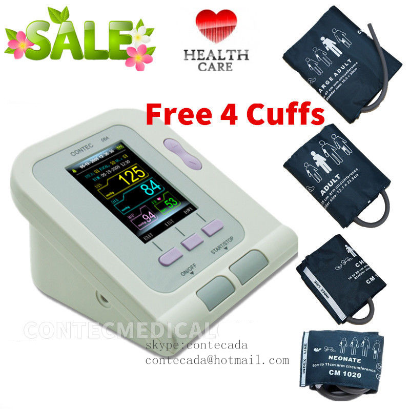 CE FDA Digital Blood Pressure Monitor,CONTEC08A Color LCD Display 4 free cuff ,Software PC ems free ship contec08a digital infant use blood monitor cuff spo2 probe