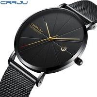CRRJU zegarek mężczyźni moda marka męska zegarki kwarcowe Ultra cienka siatka stalowa pasek Casual Sport mężczyźni zegarek czarny Relogio Masculino
