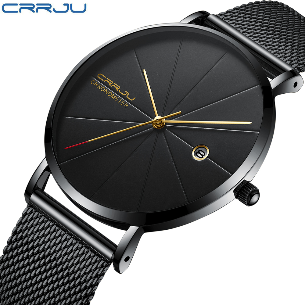CRRJU Watch Men Fashion Brand Men's Watches Quartz Ultra Thin Steel Mesh Strap Casual Sport Men Watch Black Relogio Masculino fashion watch brand men s watches dress quartz watch men steel mesh strap quartz watch ultra thin ultra clock relogio masculino