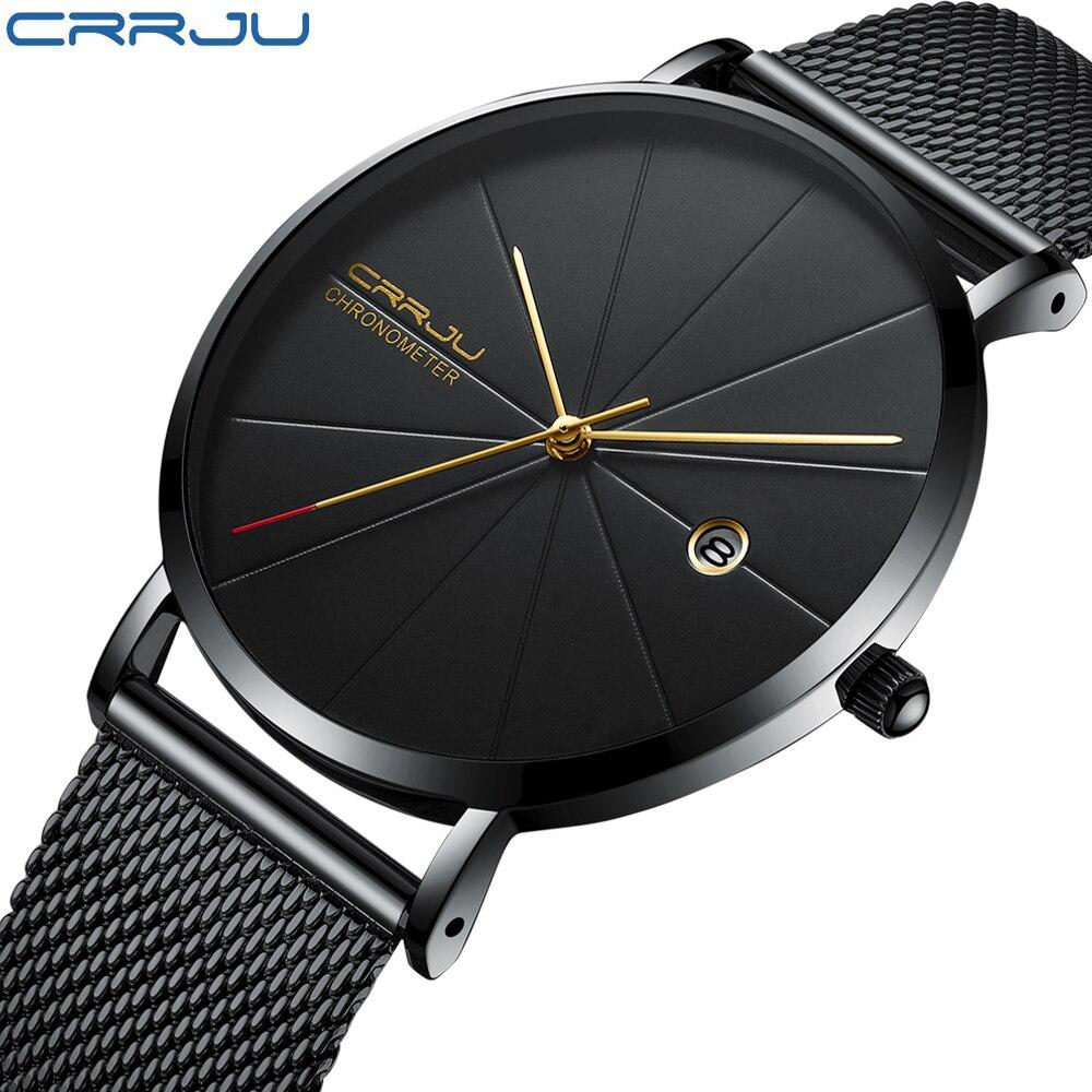 CRRJU reloj hombres marca de moda de los hombres relojes de cuarzo Ultra fino malla de acero Correa Casual Sport hombres reloj negro Relogio masculino