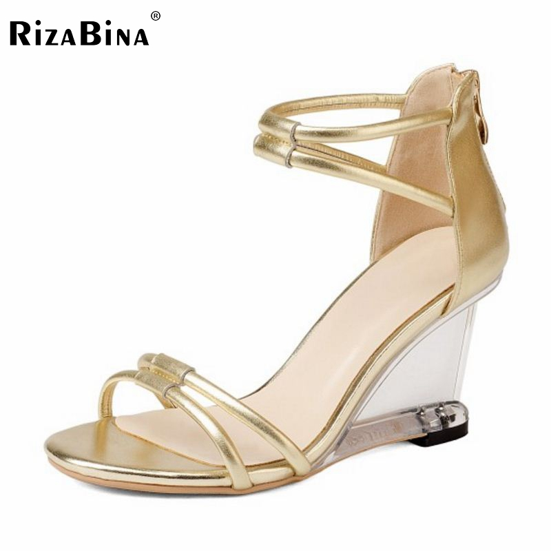 RizaBina Sexy Women Gladiator High Wedges Sandals Real Genuine Leather Zipper Wedges Slippers Summer Vacation Shoes Size 34-39 phyanic 2017 gladiator sandals gold silver shoes woman summer platform wedges glitters creepers casual women shoes phy3323