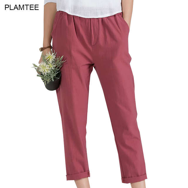 cdf0b56e823 Womens Linen Trousers with Elastic Waist Pants Solid Plus Size 5XL Pantalon  Femme All Match New