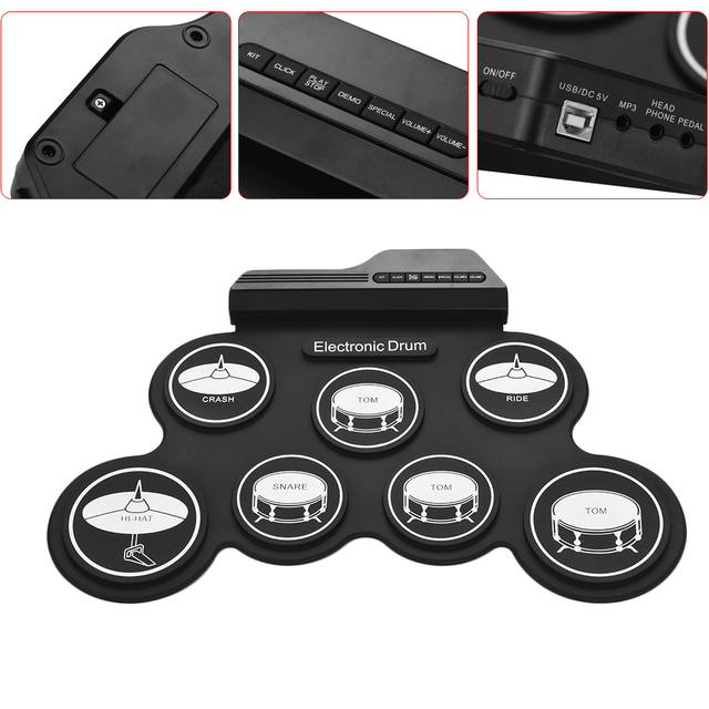 Compact Size USB Digital Roll-Up Drum Set Electronic Drum Silicon 7 Drum Pads with Drumsticks Foot Pedals for Beginners Kids 3
