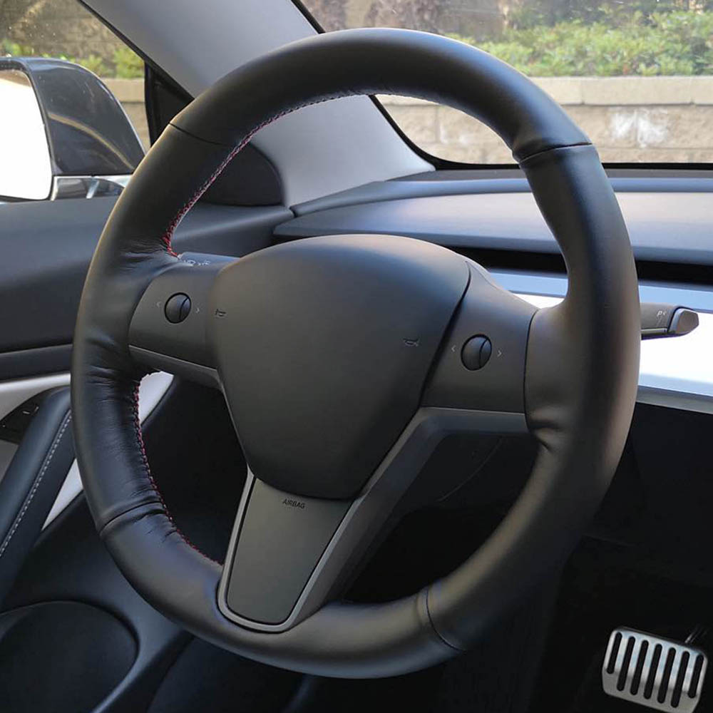 Top Leather Steering Wheel Hand-stitch on Wrap Cover For Tesla Model S Model X