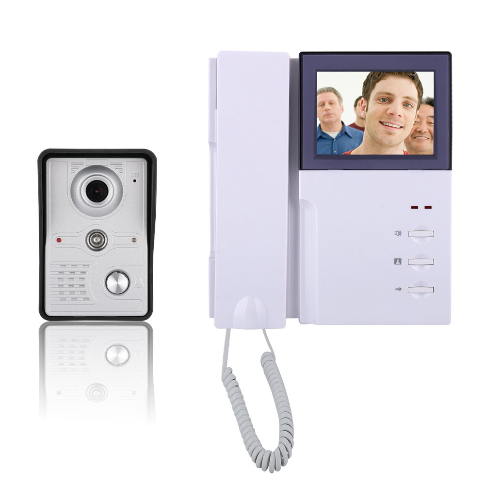 4inch Wired Color Video Door Phone Doorbell Intercom Entry System With Phone Monitor+ 1 IR COMS Outdoor Camera Night Vision homefong villa wired night visual color video door phone doorbell intercom system 4 inch tft lcd monitor 800tvl camera handfree