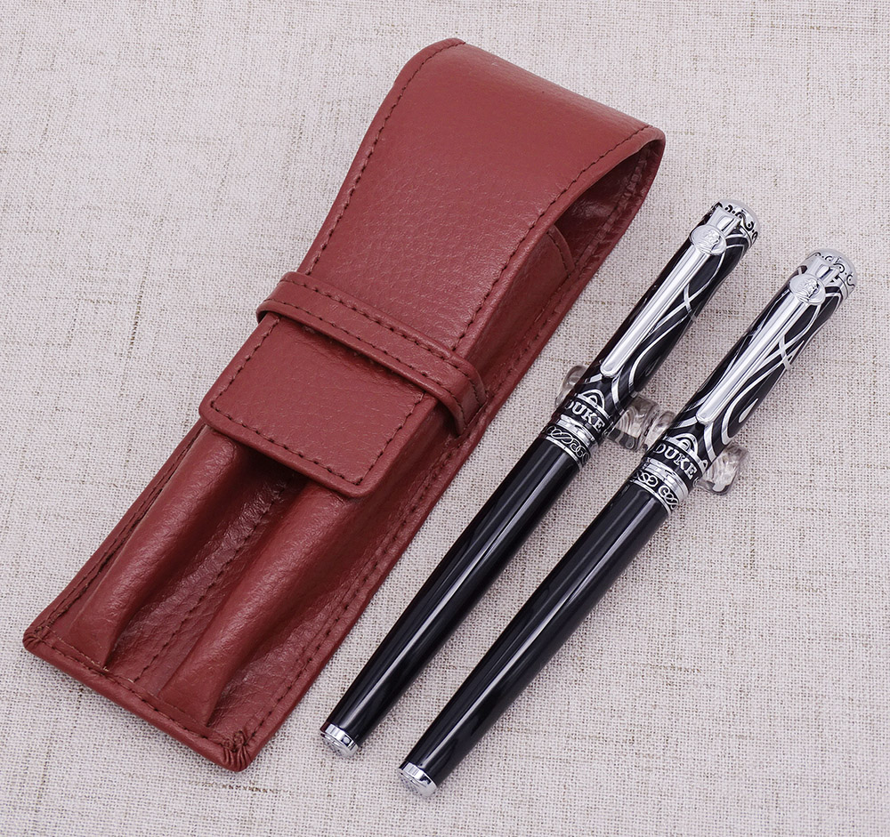 Duke Ruby Fountain Pen & Rollerball Pen with Real Leather Pen Case Bag Washed Cowhide Pen Holder Writing Gift SetDuke Ruby Fountain Pen & Rollerball Pen with Real Leather Pen Case Bag Washed Cowhide Pen Holder Writing Gift Set