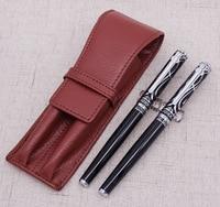 Duke Ruby Vulpen & Roller met Real Lederen Pen Case Bag Gewassen Koeienhuid Pen Houder Schrijven Gift Set