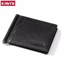 KAVIS Slim Genuine Cow Leather Money Clip Brand Women Male Bank Purse Small Men Wallet Dollar Price Clamp for Money Card Black