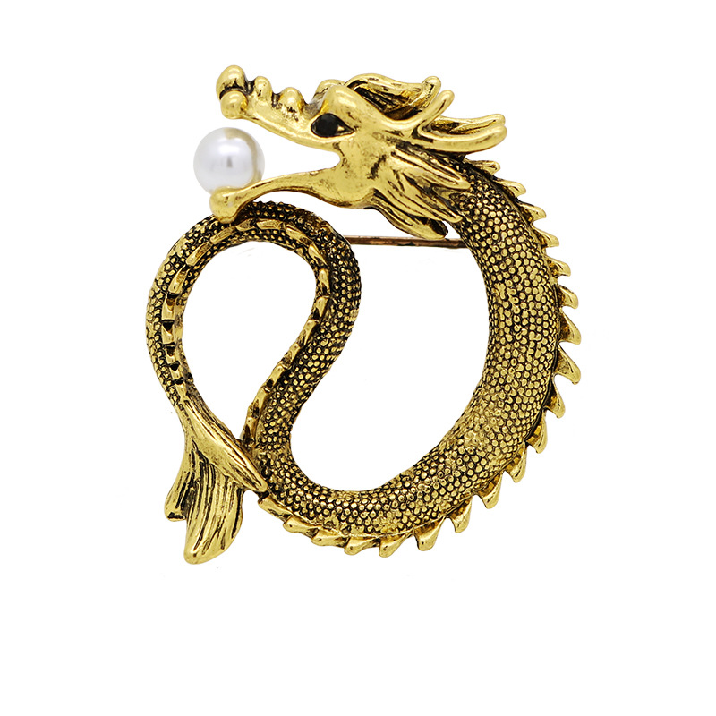 cc7a8b0bd1b i-Remiel Luxury Glod Vintage Pearl Jewelry Alloy Dragon Totem Brooch Men's  Needle Badge Female Pin for Men Clothing Accessories