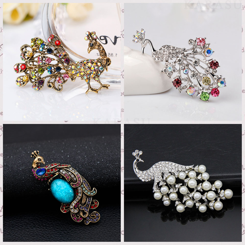 Female Crystal Vintage Peacock Brooches for Wedding Women Animal Rhinestone Simulated Pearl Brooch Pin Jewelry Women Accessories