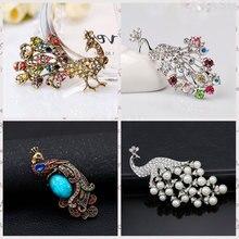 Broches de pavo real Vintage de cristal para mujeres de boda Animal Rhinestone broche perla simulada Pin joyería Mujer Accesorios