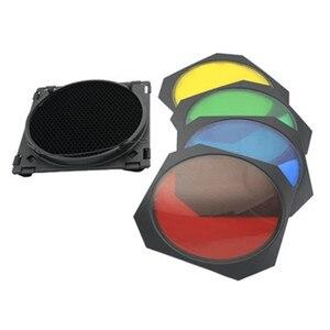 Image 4 - Godox Bowens крепление отражатель для студийной вспышки + BD 04 Barn Door Honeycomb Grid + 4 цветных фильтра