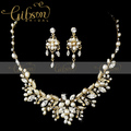 Free Shipping Gold Plated Rhinestone and Beaded Wrapped Wedding Bridal Jewellery Necklace and Earring Set