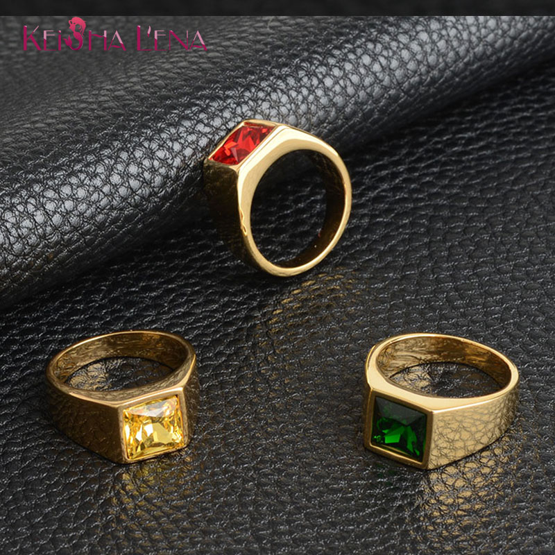 Multi-color Square Zircon Stone Rings Simple Stainless Steel Rings For Man Wedding Bands Unisex Trendy Jewelry Christmas GiftS(China)