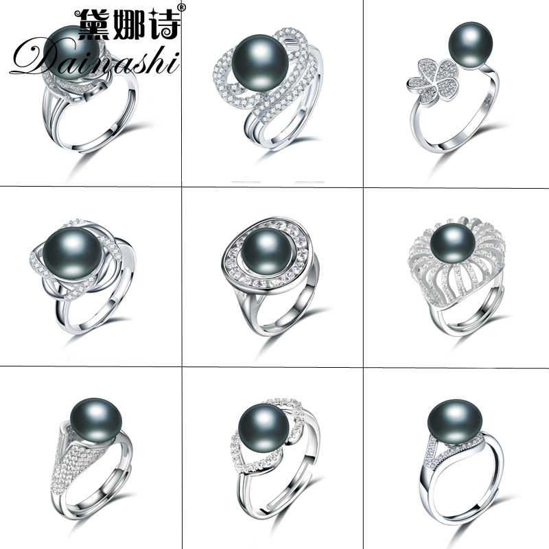 Silver Plated Adjustable Pearl Ring Natural Freshwater Black Pearl With Zircon Ring Women Rings Jewelry 14 Style Can Choose