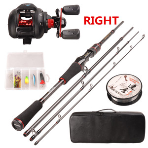 Image 2 - Smart Casting Fishing Set 6.2:1/5+1BB Baitcasting Reel 1.98m M Casting Fishing Rod 100m Nylon Fishing Lure Accessories Tackle