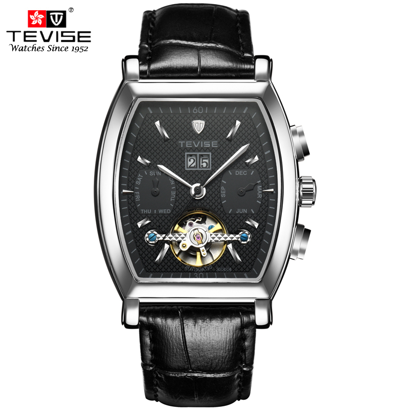 TEVISE High Quality Tourbillon Automatic Mechanical Watches Men Self Wind Business Genuine Leather Calendar Wristwatches 8383BTEVISE High Quality Tourbillon Automatic Mechanical Watches Men Self Wind Business Genuine Leather Calendar Wristwatches 8383B