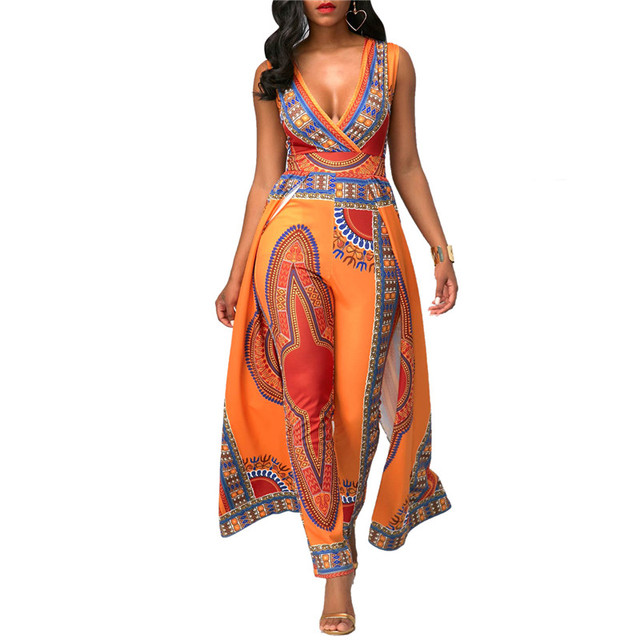 b8cf4bac47 Dashiki Ethnic African Print Jumpsuit Sexy Romper Women V-neck Sleeveless  Indie Folk Overalls Elegant Orange One Piece Jumpsuit