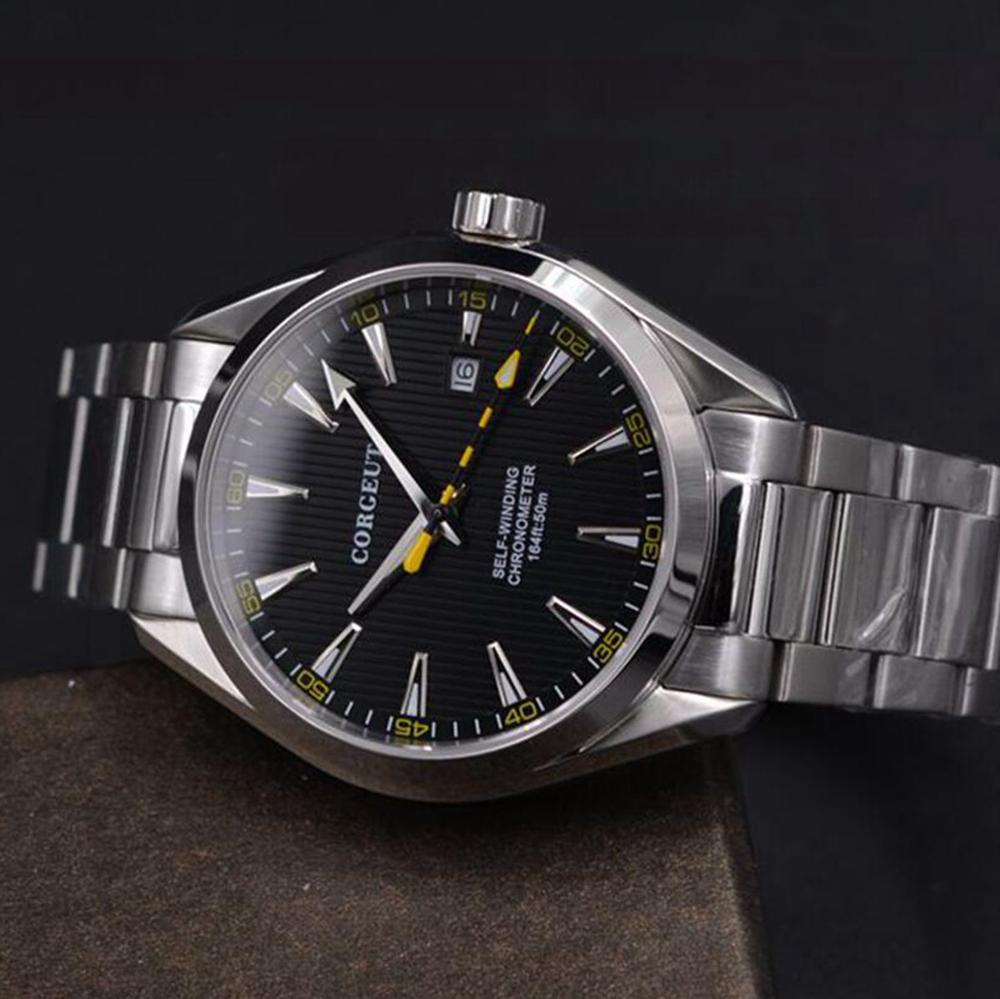 Corgeut 41mm mężczyźni zegar automatyczne ze stali nierdzewnej niebieski dial mechaniczny szkła szafirowego sukienka mężczyźni zegarki luksusowe top marka w Zegarki mechaniczne od Zegarki na  Grupa 2