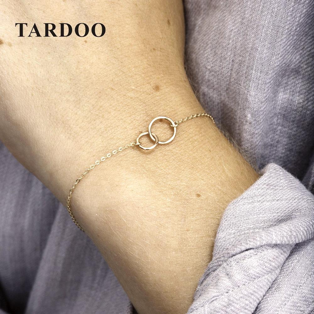 Tardoo Gold Farbe 925 Sterling Silber Armbänder Klassische Minimalismus Armband für Frauen Einfache Kette Link Edlen Schmuck Armbänder