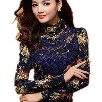 ead622fdf8 2014spring And Autumn Women S Lace Turtleneck Long Sleeve Slim Shirt Thick  Velvet Basic T Shirt